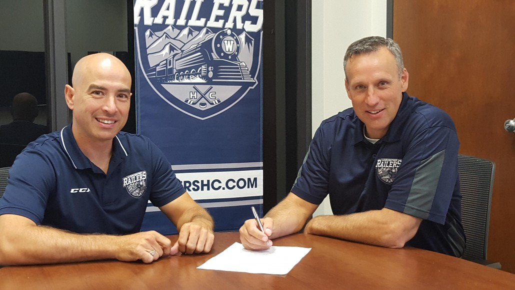 Worcester Railers president Mike Myers with new Railers general manager and head coach Jamie Russell